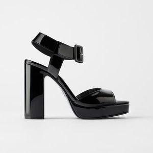 NWT Zara Black Patent High Heel Sandal 9